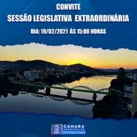 Sessão Legislativa Extraordinária dia 19 de Fevereiro de 2021 às 15h00min